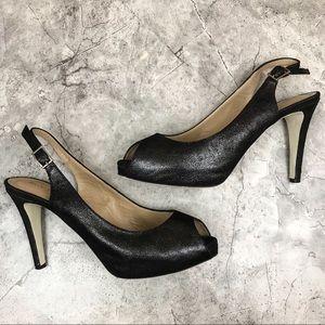 Ron White {Vero Cuoio} black shimmer heels